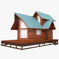 log cabin 3D models