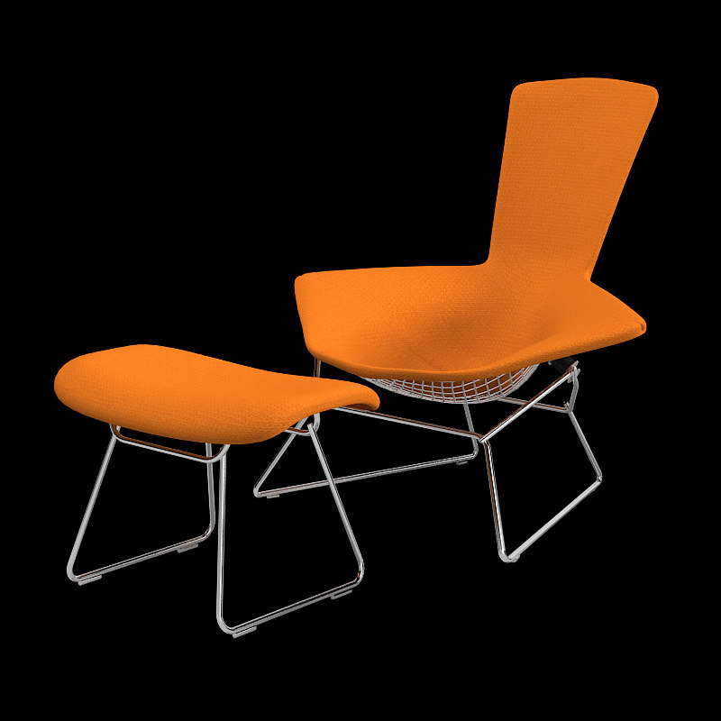 Knoll bertoia lounge chair 3d model for Famous modern chairs
