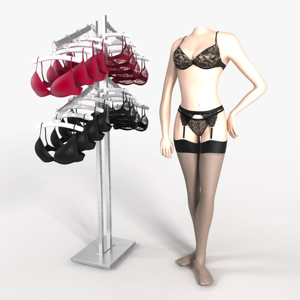 Bra Rack and Mannequin 3D Models