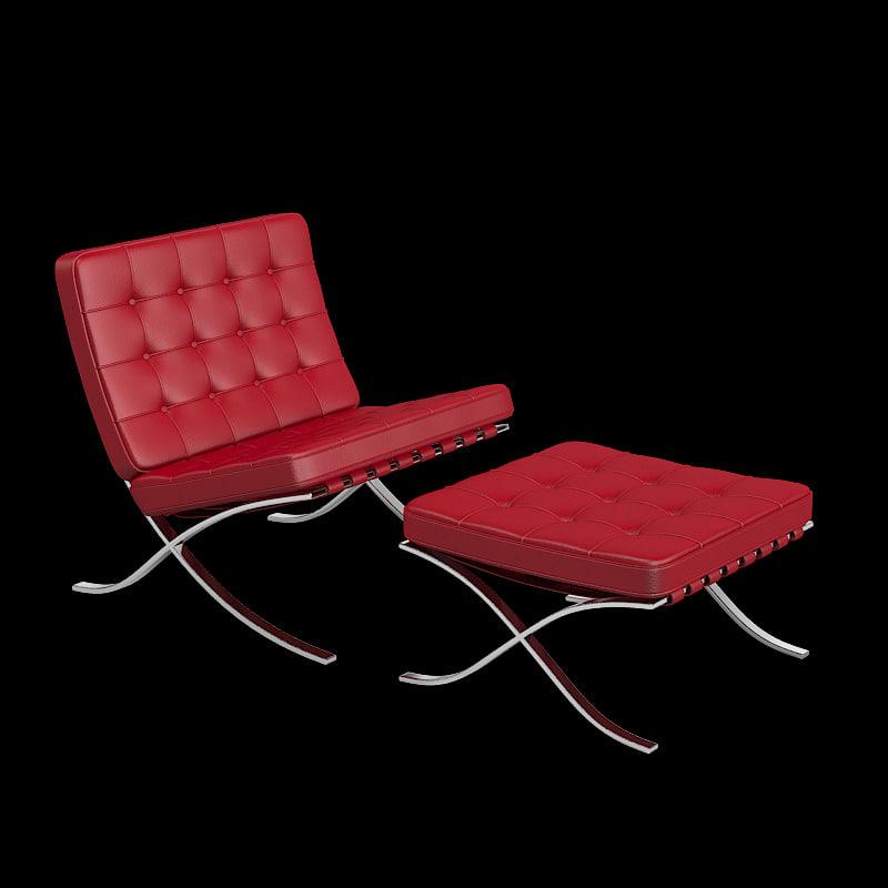 knoll barcelona chair stool 3d max. Black Bedroom Furniture Sets. Home Design Ideas
