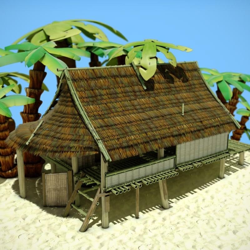 Color Hut Textures: 3d Bamboo Hut Model