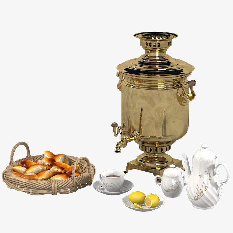 a Russian Samovar Tea Set teapot cup pie national   basket lemon plate traditional famous breakfast boil vintare retro pot antique.jpg