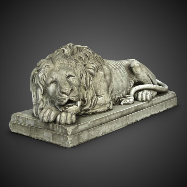 Sleeping Lion Sculpture 3D Models