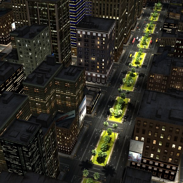 3D City Night Scene 3D Models