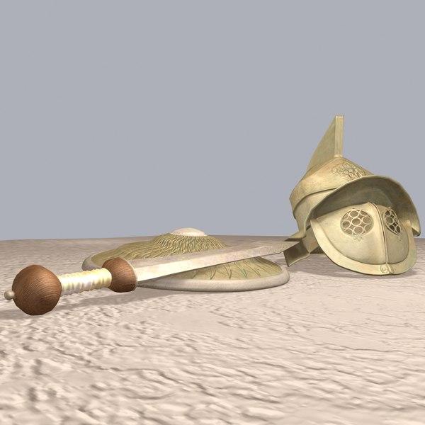 Roman Gladiator Weapons 3D Models