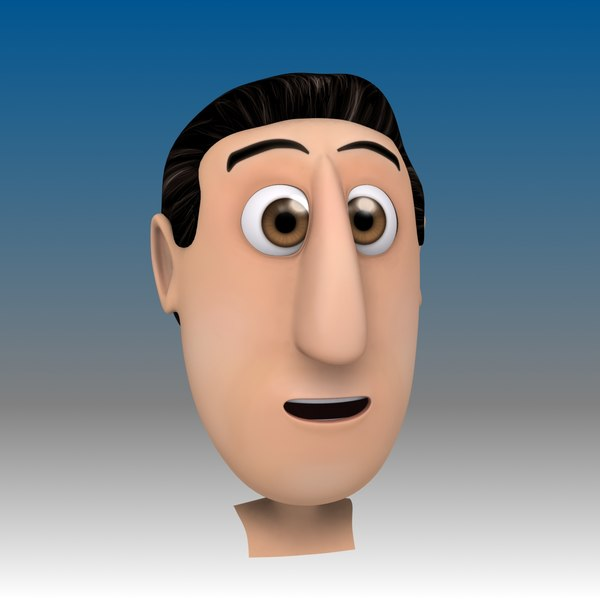 Cartoon Man Head (with 24 Morph Targets) 3D Models