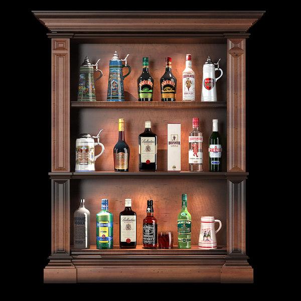 Bar Bottles Set 3D Models