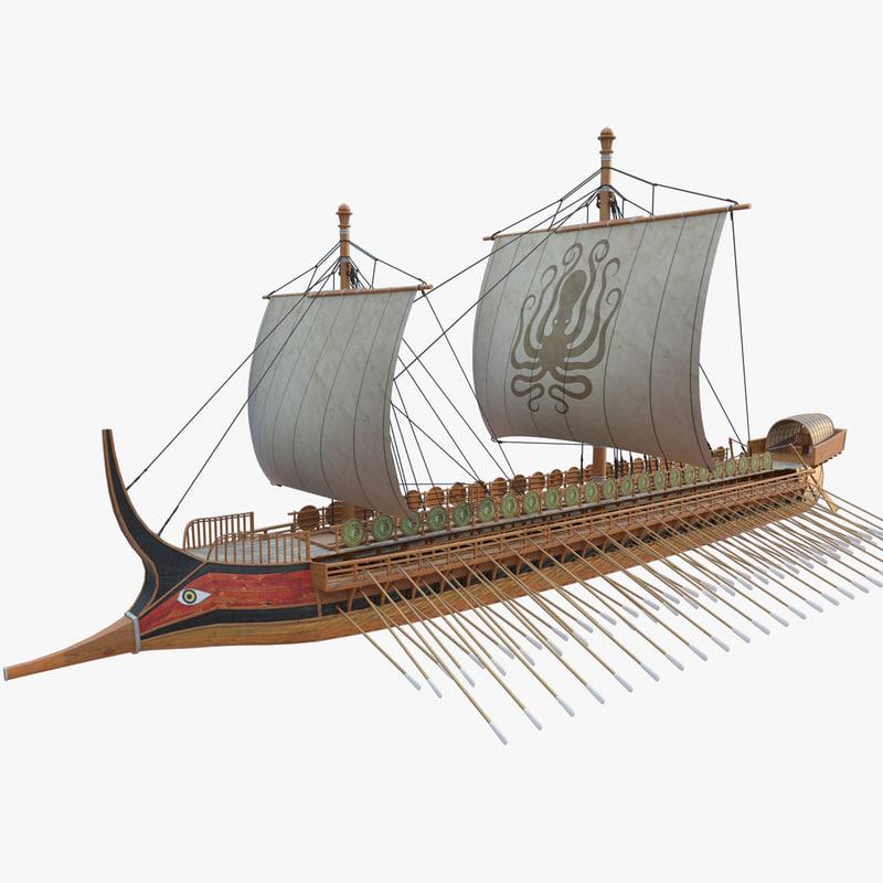 greek warship trireme 3d model