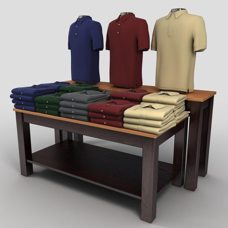 t Shirt Table Display Polo Shirts Table Display 3d