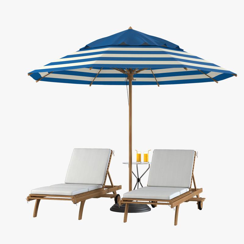 3d model sun lounger beach set. Black Bedroom Furniture Sets. Home Design Ideas