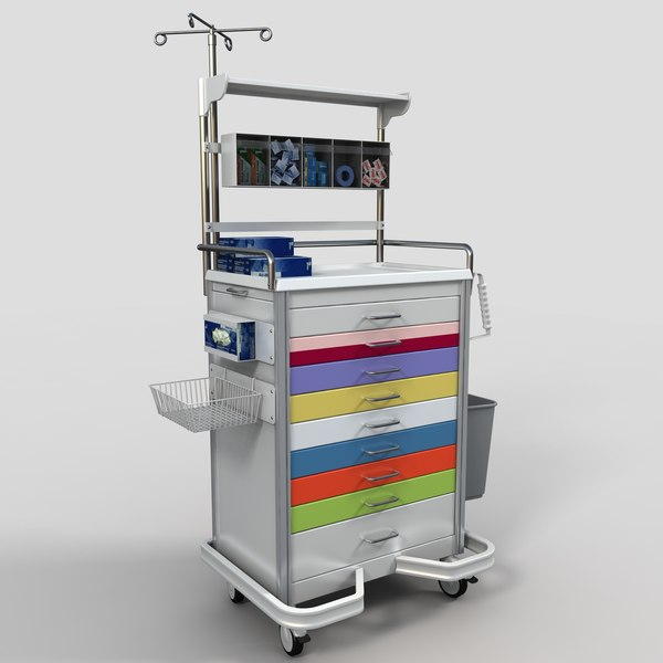 Medical Supply Cart 1 3D Models