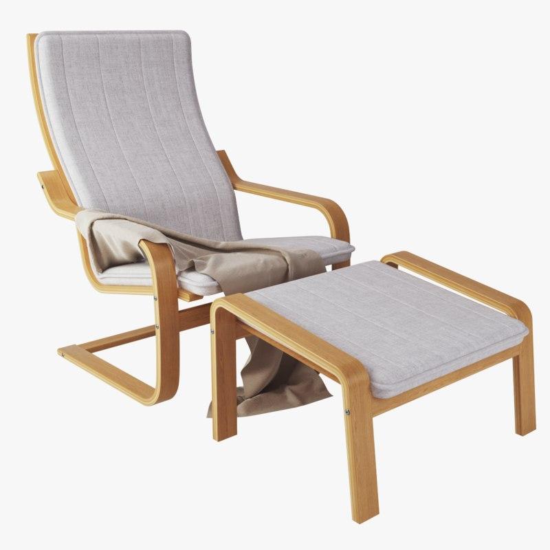 3d Model Ikea Poang Chair