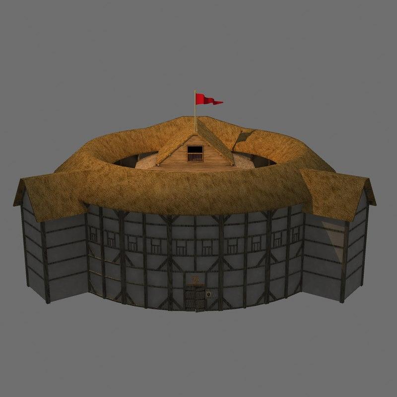 Globe theatre 3d model for Theatre model