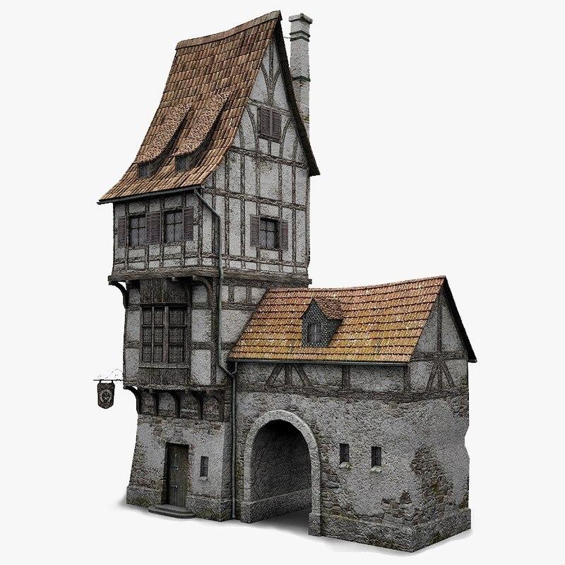 Fantasy old blacksmith house obj
