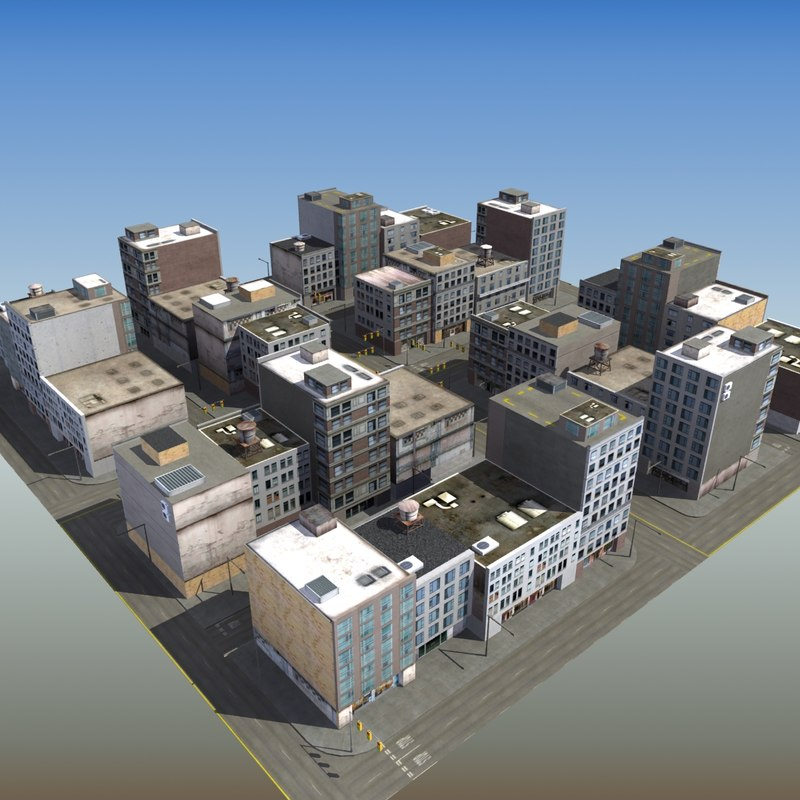 Commercial city block 3d model Build house online 3d free