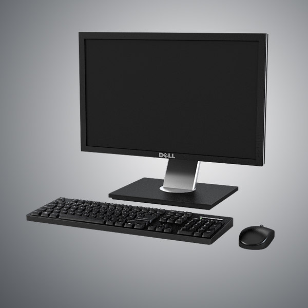 Dell LCD Monitor, Keyboard & Mouse Set 3D Models