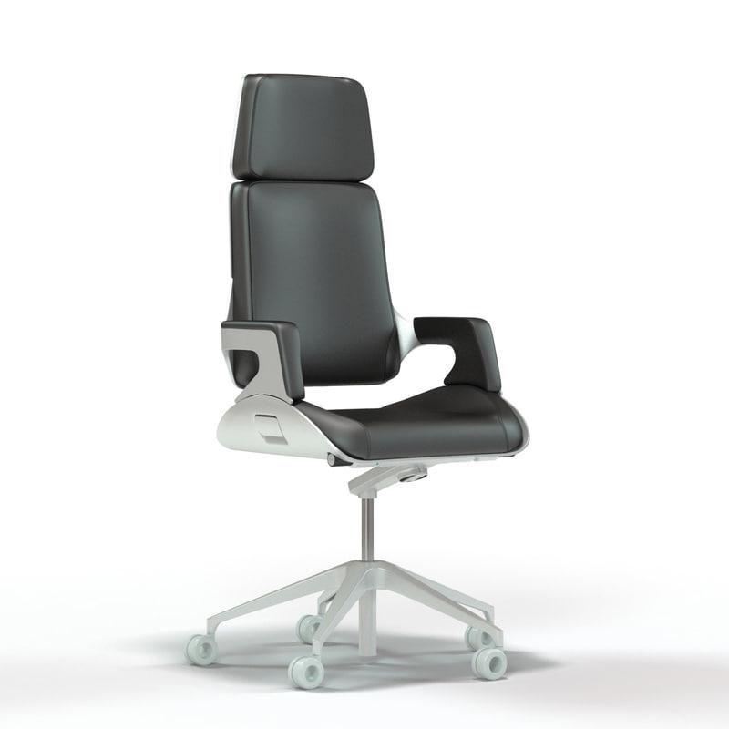 3d interstuhl silver office chair model