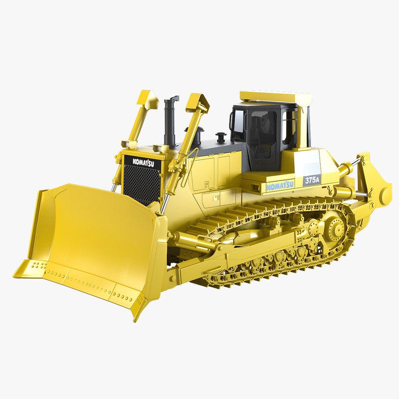 a Bulldozer Komatsu 375A  track loader digger heavy  bull dozer builder industrial transport vehicle machine tractor work road career pit opencast 0001.jpg