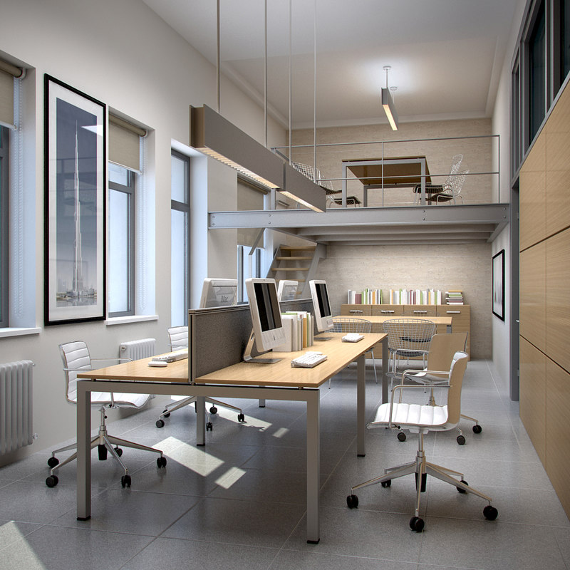 Interior scene office 3d max Office design 3d