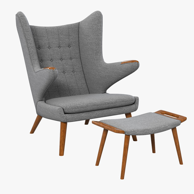 a Papa Bear Armchair  chair and ottoman Hans J Wegner designer designers famous lounge club relax vintage retro style modern contemporary tufted 30656 31600 .jpg