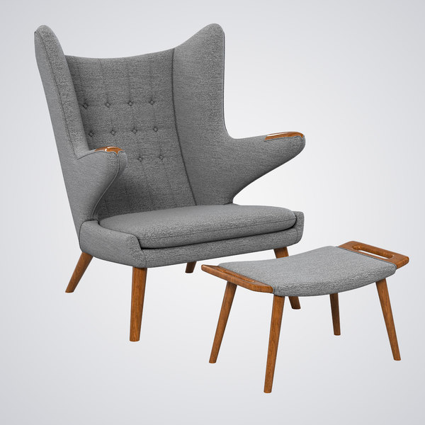 Papa Bear Chair & Ottoman 3D Models