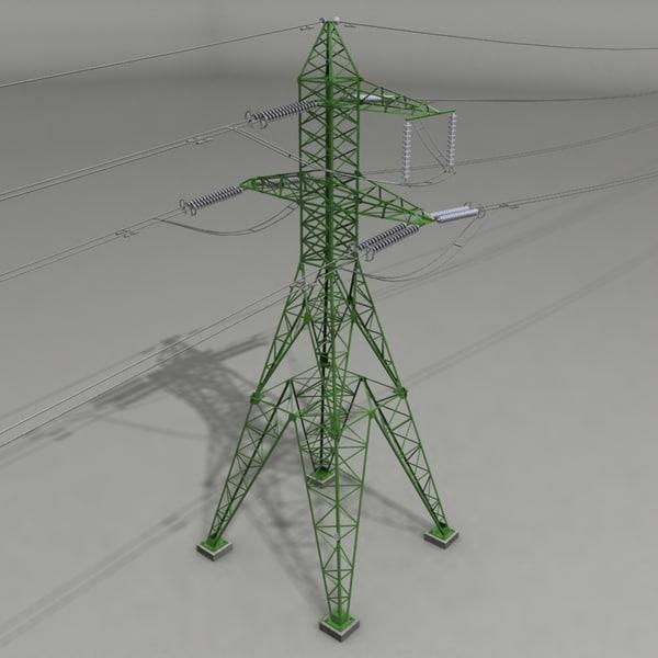 High Voltage Power Lines 3D Models