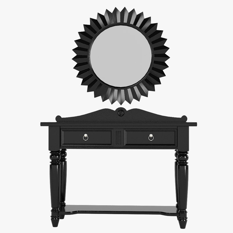 a Traditional foyer lobby hall American console table & wall sun classic art deco mirror set sunburst round 0001.jpg