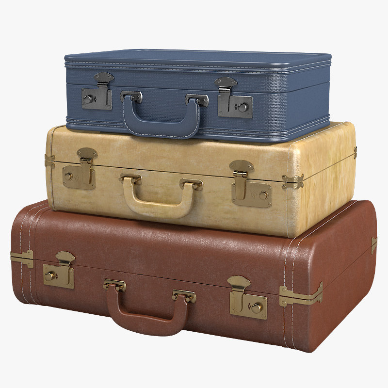 a Vintage Suitcase Set trunk bag antique traveller retro travel man coat storage traditional father's case antique.jpg