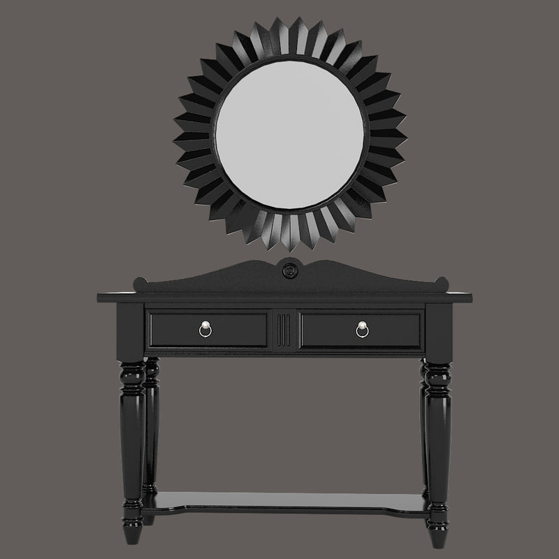b Traditional American console table & wall sun classic art deco mirror set drexel 0001.jpg