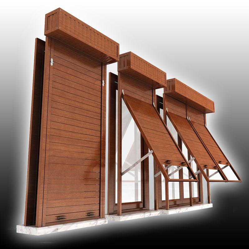 Window shutter 3d 3ds for Window 3d model