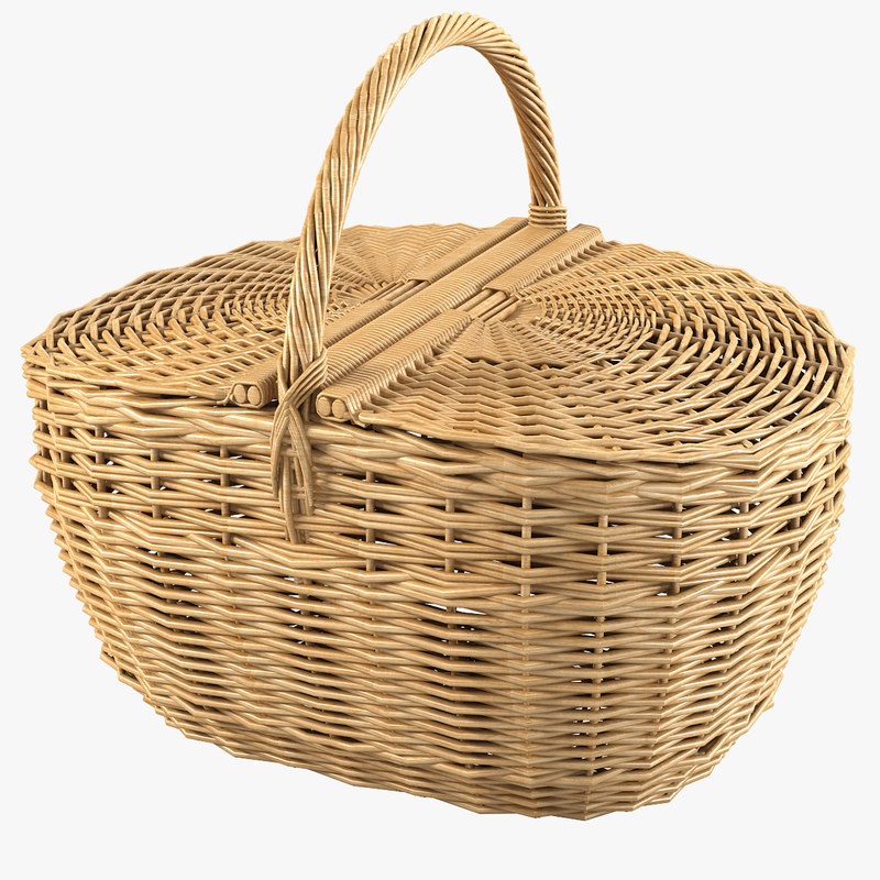 a wicker picnic basket woven fiber rattan bin storage country container decorative decor .jpg