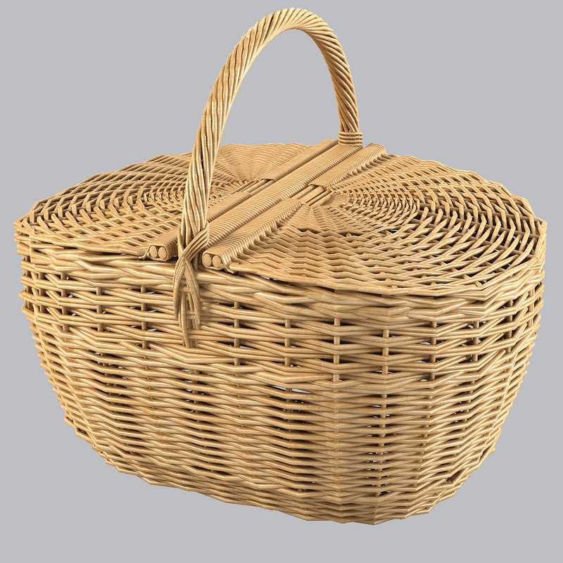 b wicker picnic basket woven fiber rattan bin storage country container decorative decor .jpg