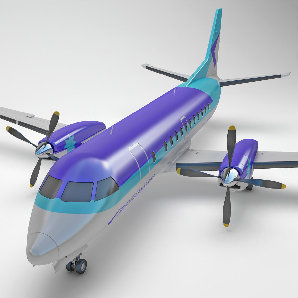 Used Turboprop: 3d Model Passenger Aircraft Saab 340