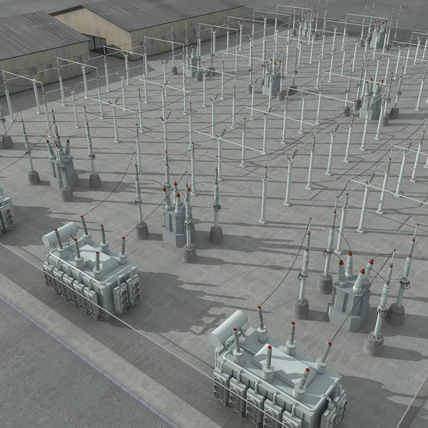 Electrical Substation Scene 3D Models