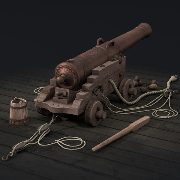 French naval cannon 3D Models