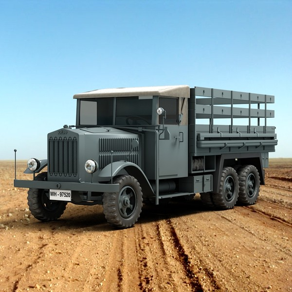 WW2 KRUPP German Truck 3D Models