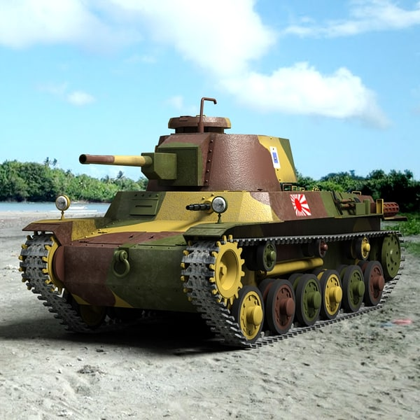 Type 1 Chi He Japanese Tank 3D Models