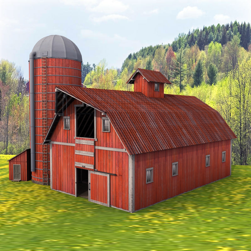 3d farm red barn silo for Red barn house