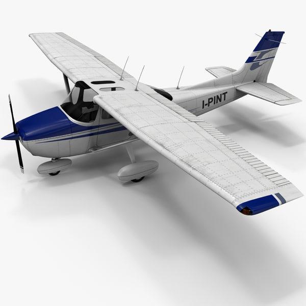 Civil Utility Aircraft Cessna 172 Skyhawk Rigged 3D Models