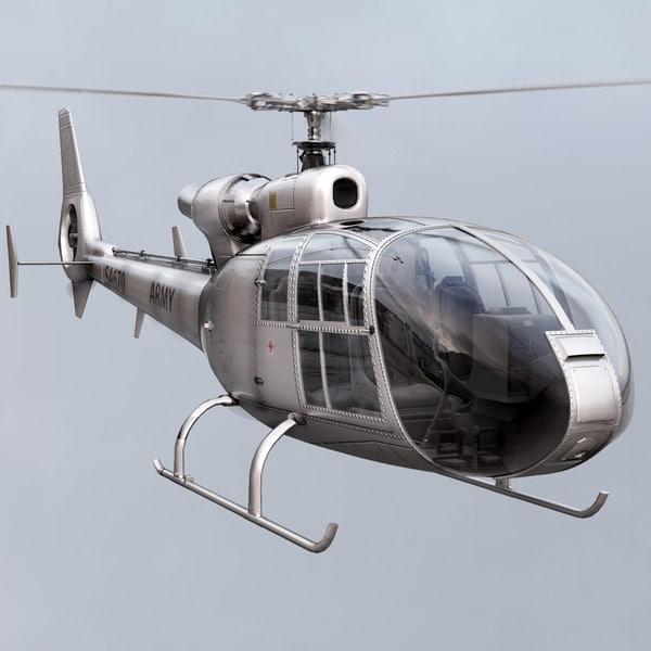 Aerospatiale SA Gazelle Silver 3D Models