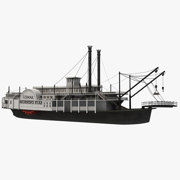 Paddle Steamer River Boat 3D Models