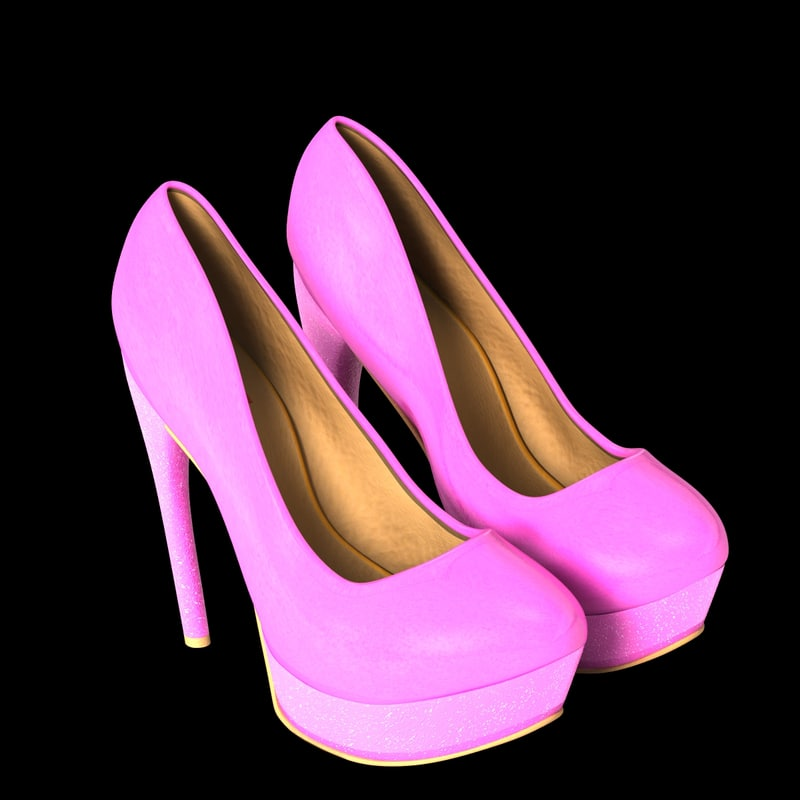 Pink Leather Fashion Heel Shoes