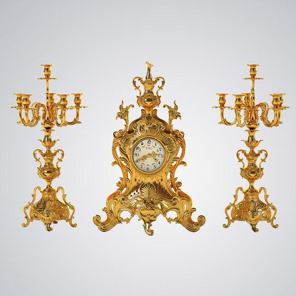 Antique Clock Set 3D Models