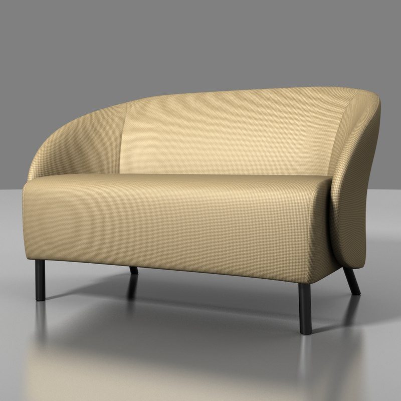 3d model keilhauer croft 2 seater sofa