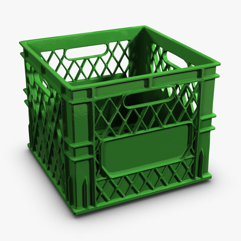 Colored plastic milk crate 3d max for Where can i buy wooden milk crates