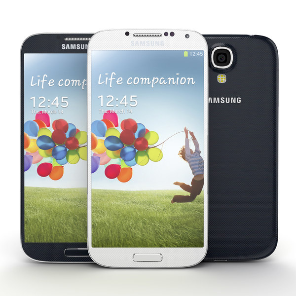 Samsung Galaxy S 4 white and blue 3D Models