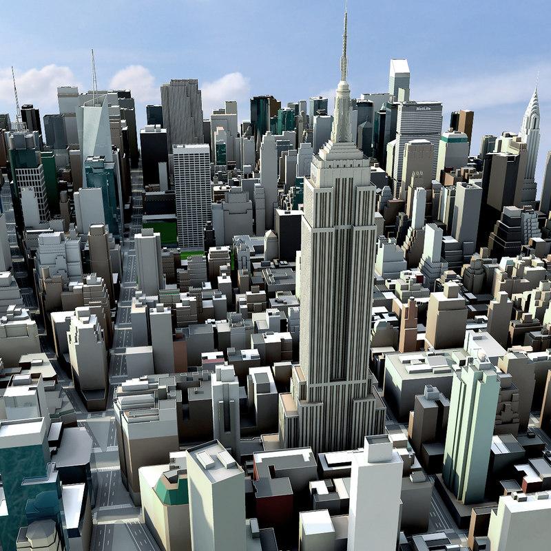 New york city manhattan 3d model for Model house nyc