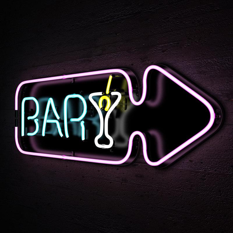 Best Bar Neon Lights: 3d Neon Lights Bar Sign Model