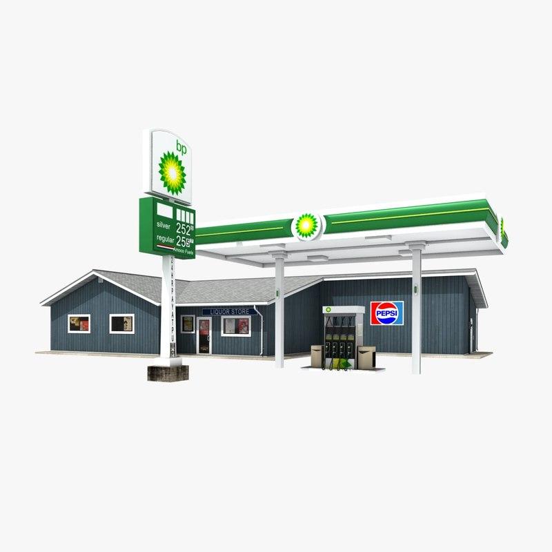 3d model bp gas station convenience store. Black Bedroom Furniture Sets. Home Design Ideas