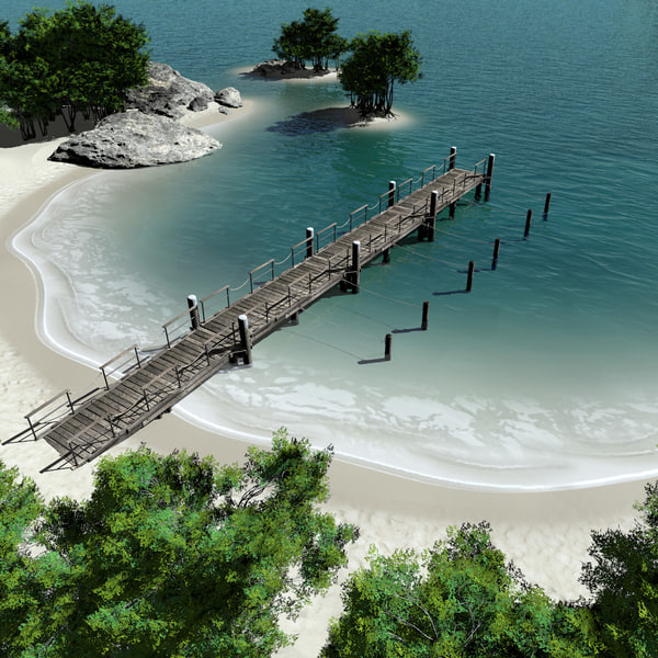 Island with Pier 3D Models